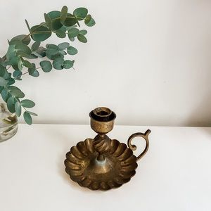 Handled Brass candlestick holder